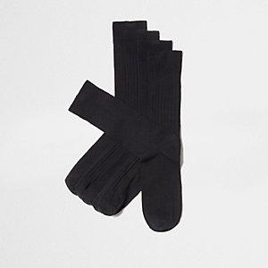 Black textured socks multipack