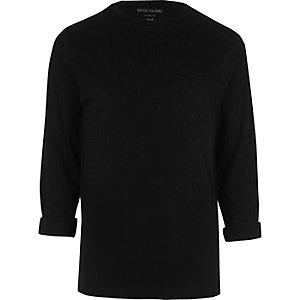 Schwarzes, langärmliges Slim Fit T-Shirt mit Tasche