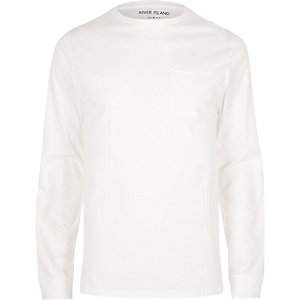 White slim fit long sleeve pocket T-shirt