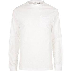 T-shirt blanc slim à poche et manches longues