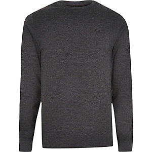 Grey marl slim fit long sleeve pocket T-shirt