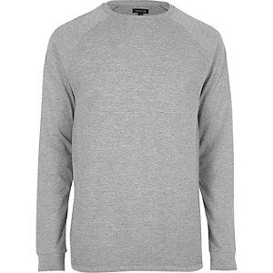 T-shirt gris chiné slim à manches raglan gaufrées