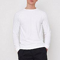 White slim fit waffle raglan T-shirt