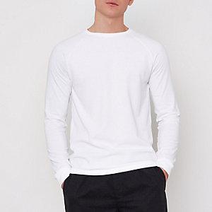 T-shirt slim blanc gaufré à manches longues