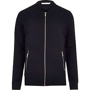 Navy Jack & Jones Premium sweat bomber jacket