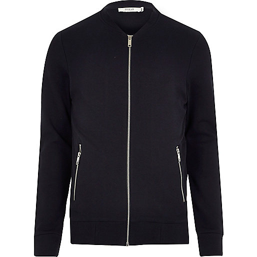 Navy Jack & Jones Premium sweat bomber jacket
