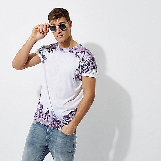 T-shirt à fleurs délavées blanc et violet