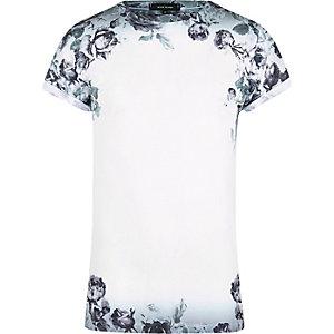 T-shirt à imprimé floral délavé blanc