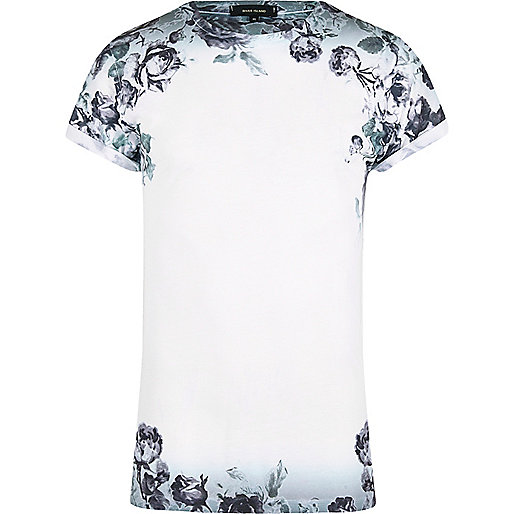 White floral fade T-shirt