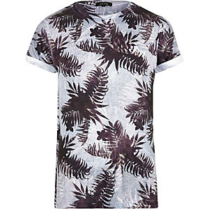Grey leaf print T-shirt