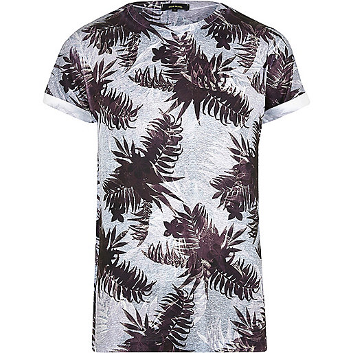 Grey leaf print T-shirt