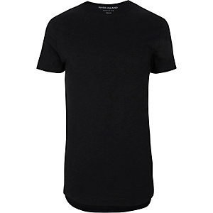 Schwarzes Muscle Fit T-Shirt mit abgerundetem Saum