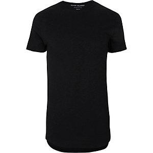 T-shirt ajusté noir à ourlet arrondi