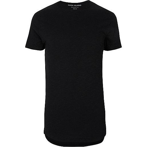 Black muscle fit curved hem T-shirt