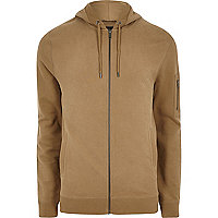 Brown zip front hoodie