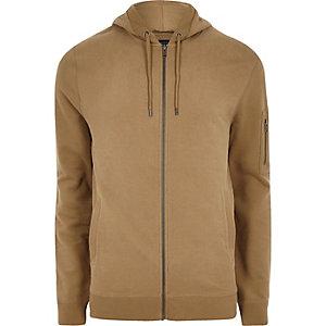 Sweat à capuche marron zippé