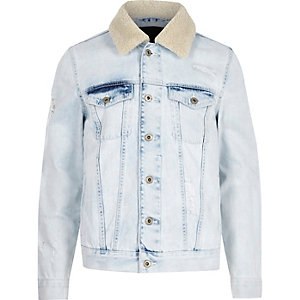 Light blue fleece trim distressed denim jacket