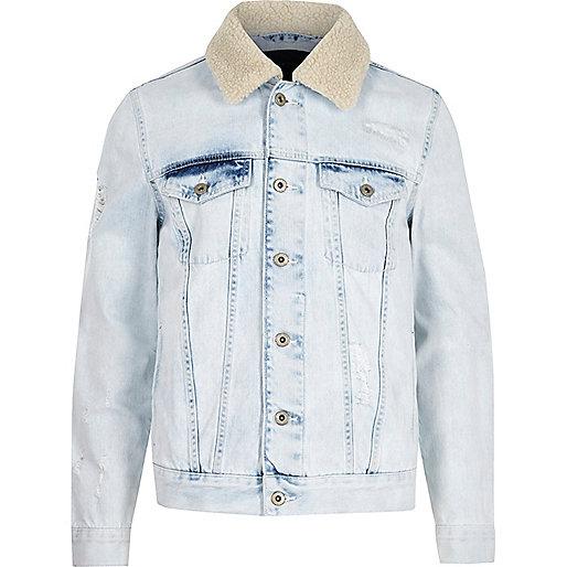 Light blue fleece trim distressed denim jacket
