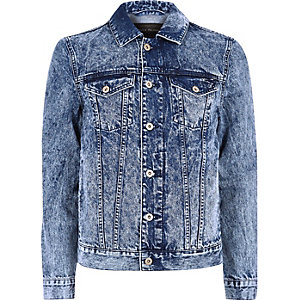 Blue acid wash denim jacket