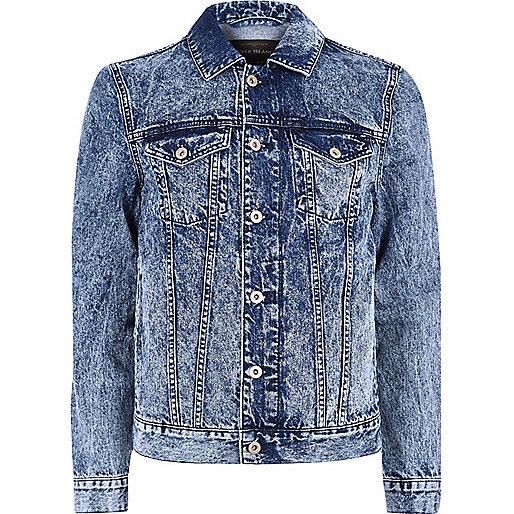 Blue acid wash denim jacket