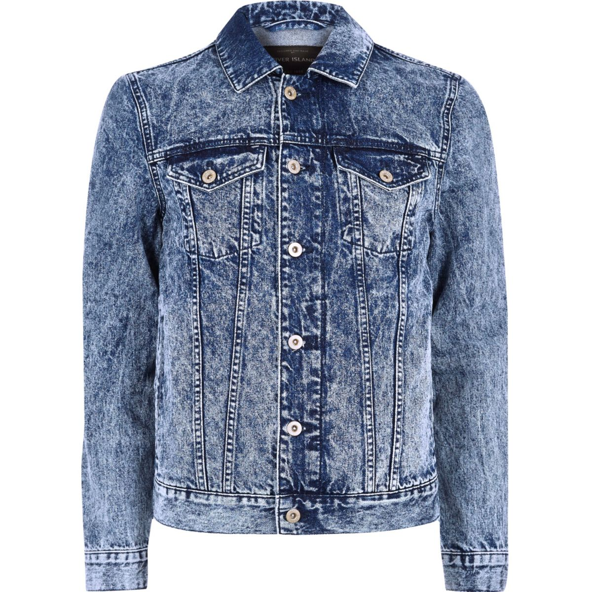 Blaue Jeansjacke in Acid-Waschung