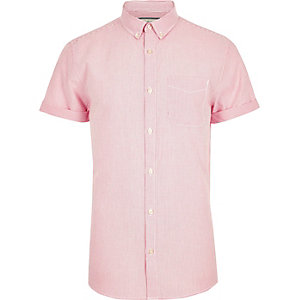 Pink stripe print short sleeve Oxford shirt