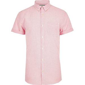 Chemise Oxford rayée rose à manches courtes