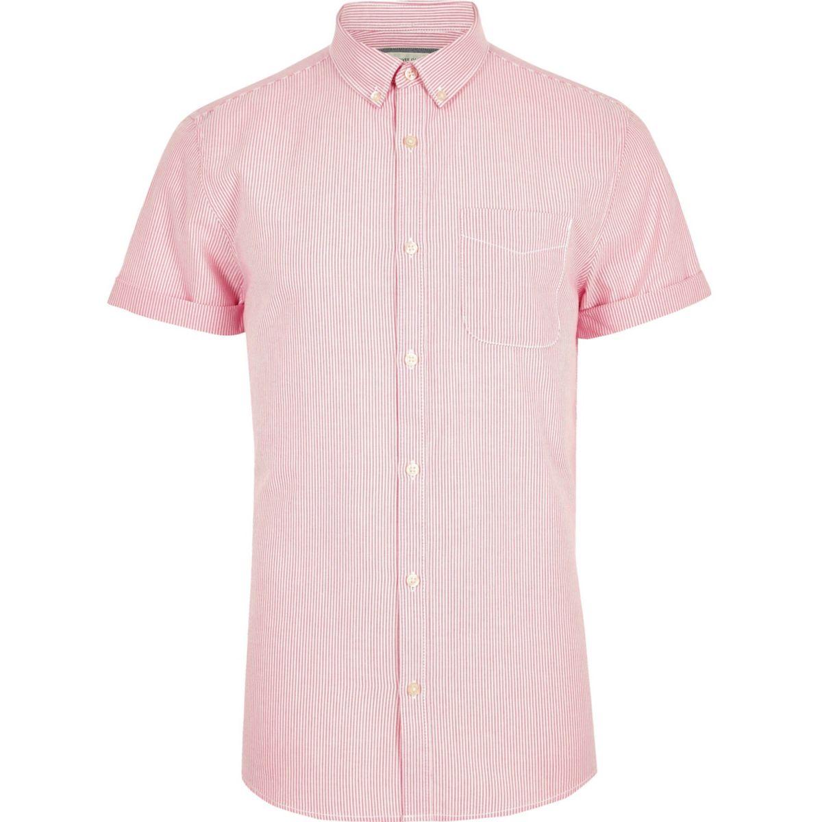 Pink stripe print short sleeve Oxford shirt
