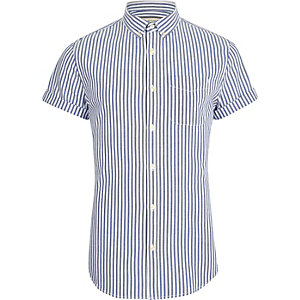 Blauw slim-fit Oxford overhemd met strepenprint