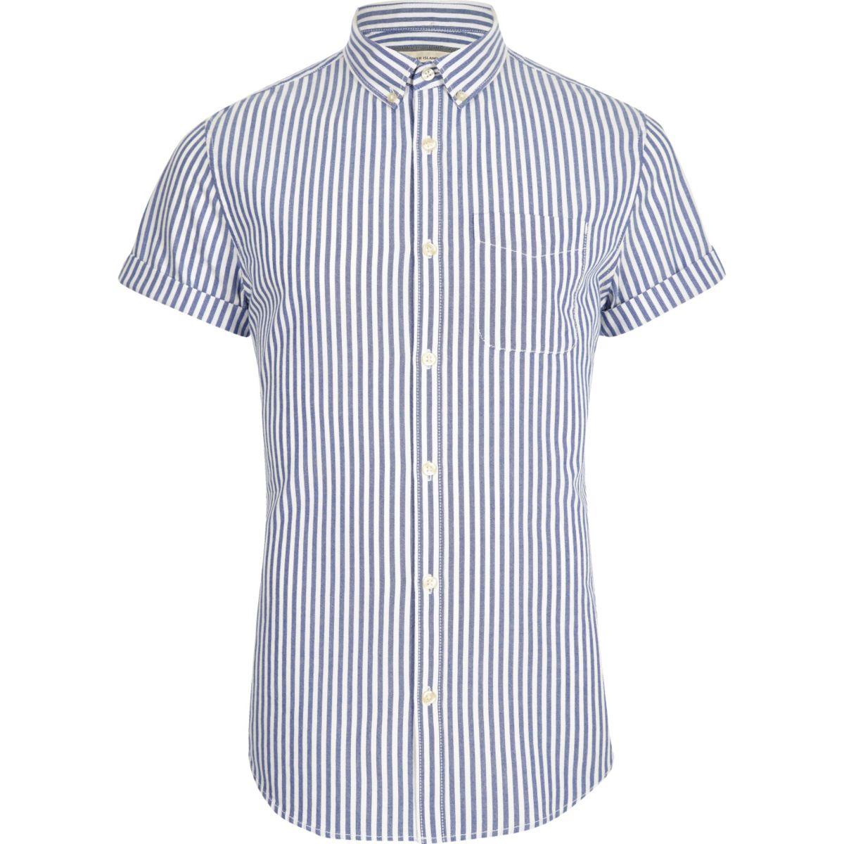 Blue stripe print slim fit Oxford shirt