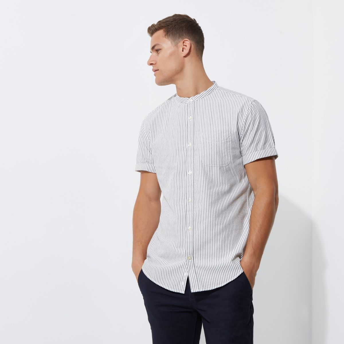 Grey stripe print slim fit grandad shirt
