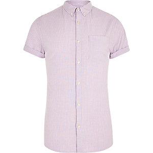 Chemise ajustée rayée violette à manches courtes