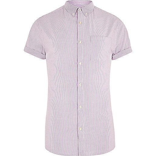 Purple stripe short sleeve muscle fit shirt