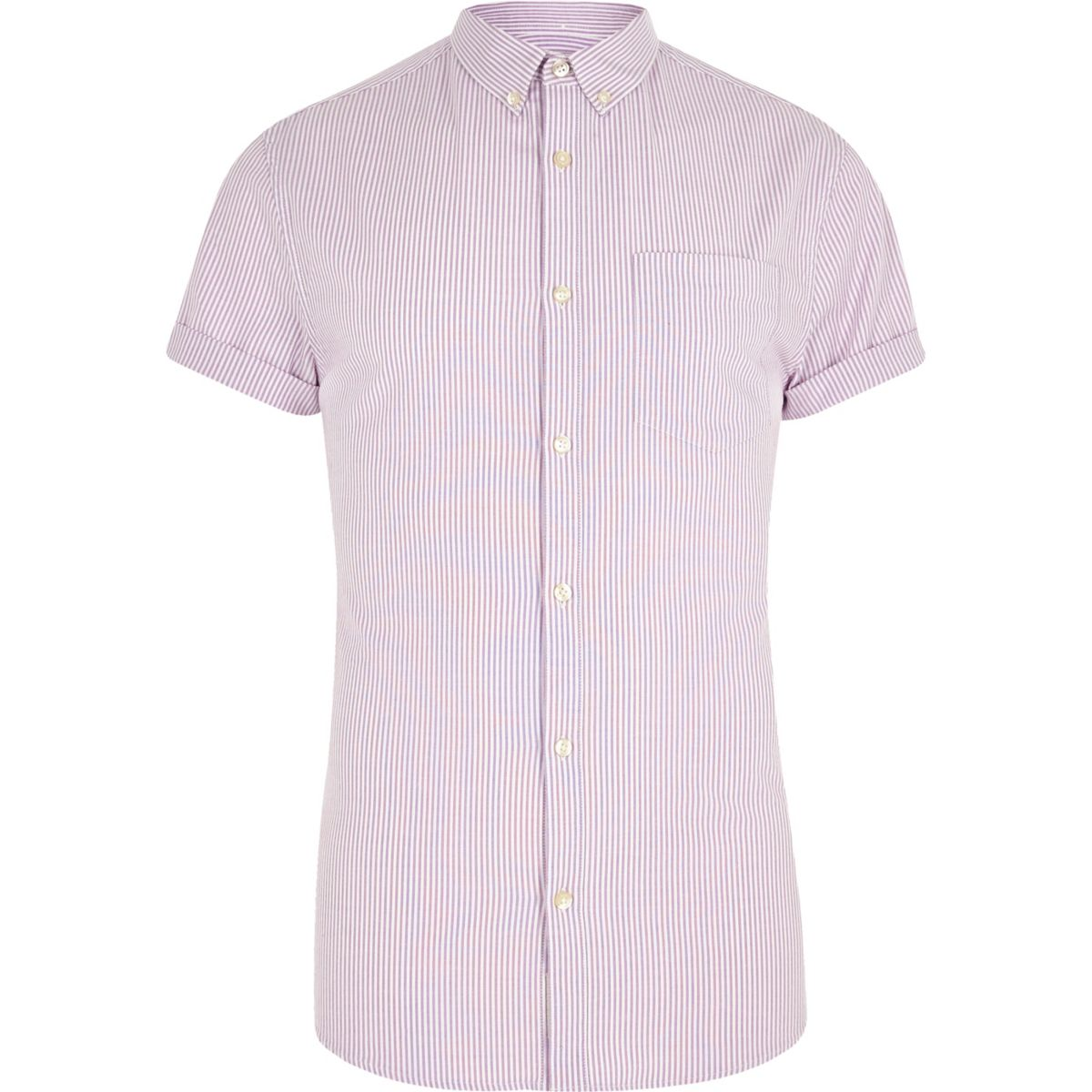 Purple stripe short sleeve muscle fit shirt