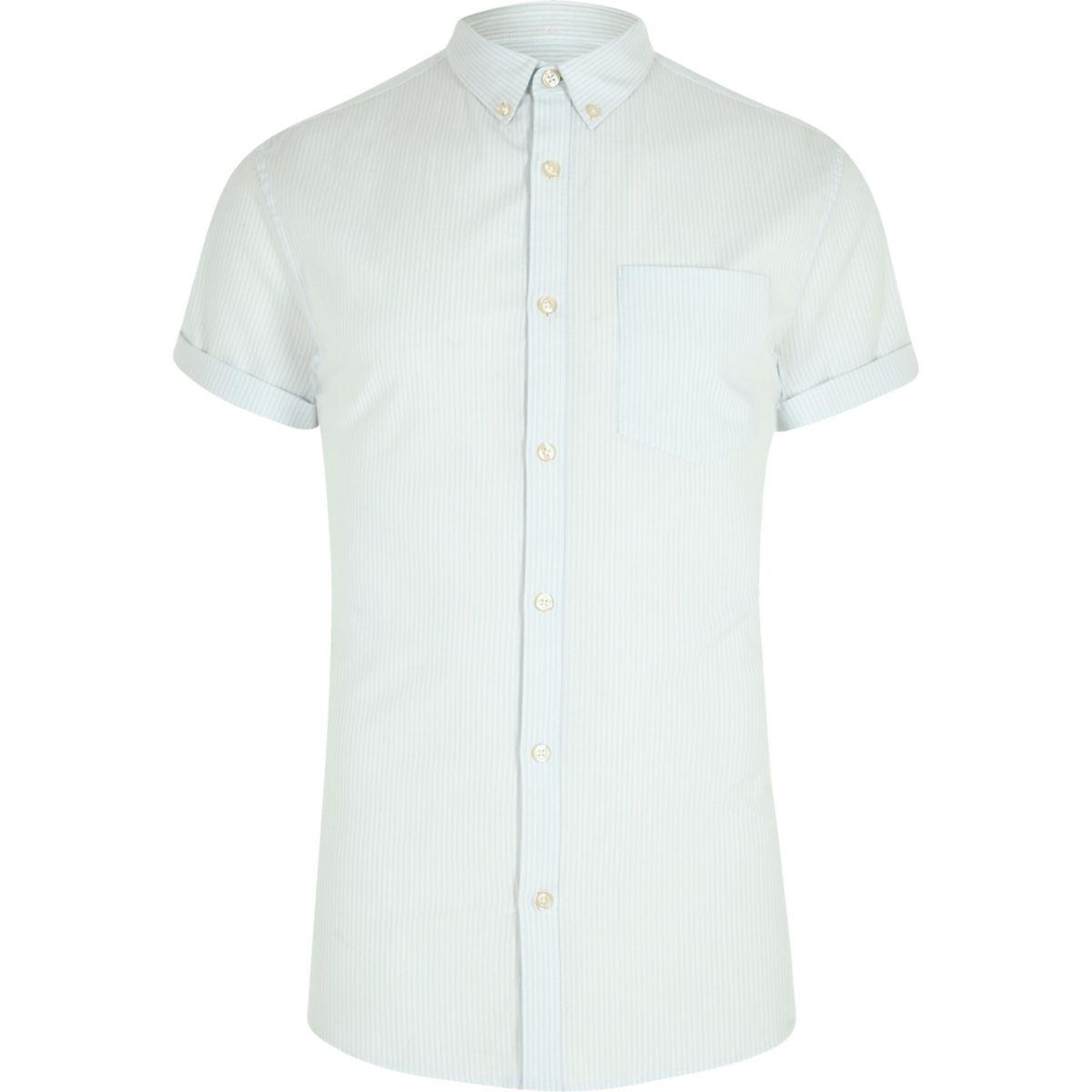 Green stripe short sleeve muscle fit shirt