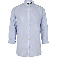 Blue stripe print Oxford shirt