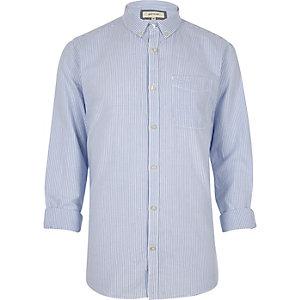 Blauw Oxford overhemd met strepenprint