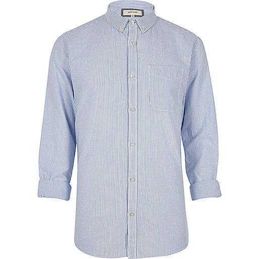 Blue stripe print Oxford shirt