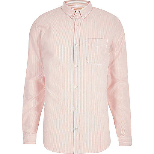 Orange stripe print slim fit shirt