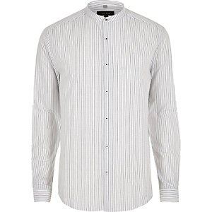 Cream stripe print grandad slim fit shirt