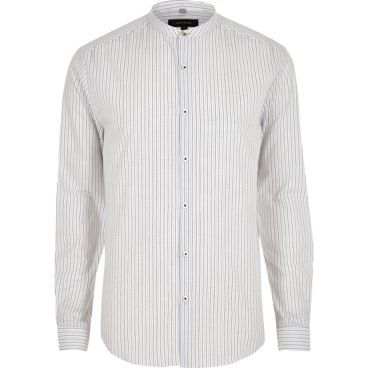 Cream stripe print grandad slim fit shirt