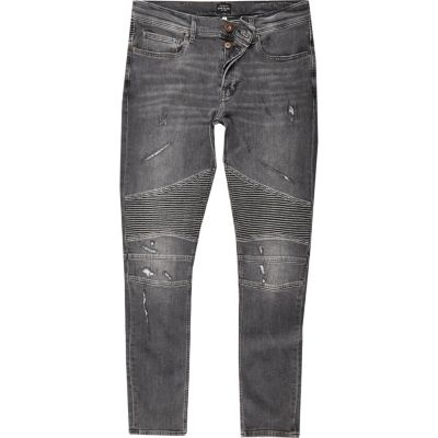 River Island Black wash biker super skinny jeans