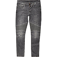 Black wash biker super skinny jeans