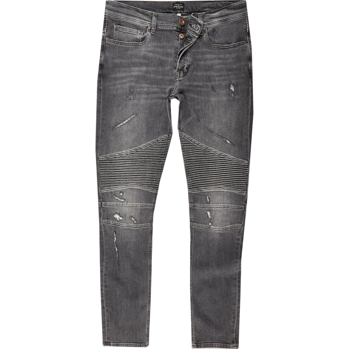 Black wash biker super skinny jeans