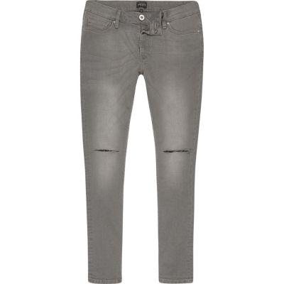 Danny Grijze superskinny jeans met gescheurde knieën