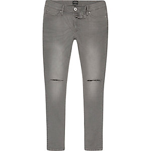 Danny – Graue Superskinny Jeans im Used-Look