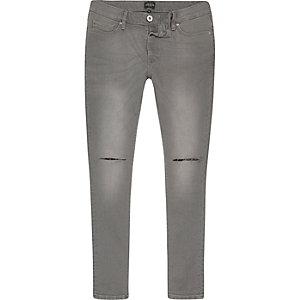 Danny - Grijze superskinny jeans met gescheurde knieën