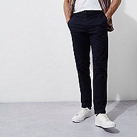 Navy blue casual slim fit chino pants