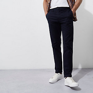 Navy blue casual slim fit chino trousers