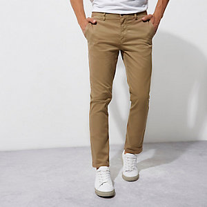 Light brown casual slim fit chino trousers